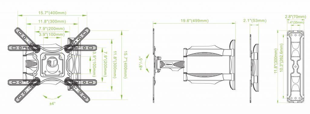 DF400 4 1 1024x378 - GIÁ TREO TIVI XOAY ĐA NĂNG P4 - DF400 (32-55 INCH)