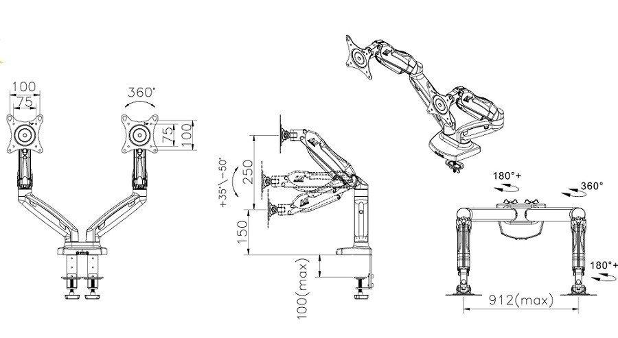 F160 kích thước - GIÁ TREO 2 MÀN HÌNH ĐỂ BÀN F160 (17-27 INCH)