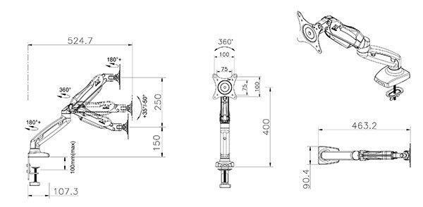 F80 kích thước - GIÁ ĐỠ MÀN MÁY TÍNH GẮN BÀN F80 (17-27 INCH)