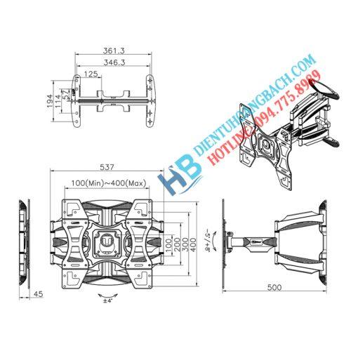 L400 kích thước 1 510x510 - GIÁ TREO TIVI ĐA NĂNG L400 - DF600 32-70 INCH
