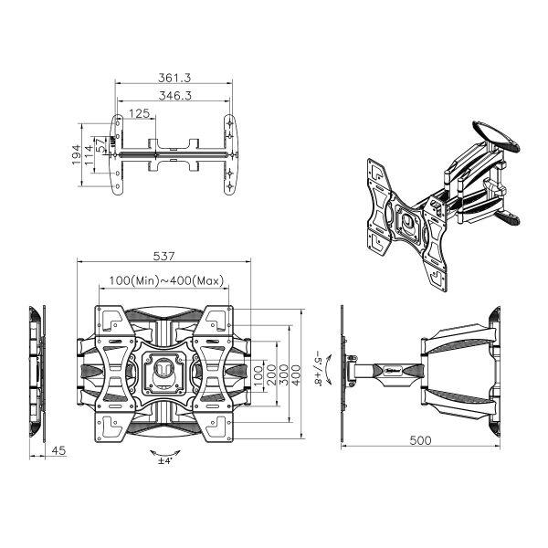 L400 kích thước 600x600 - GIÁ TREO TIVI ĐA NĂNG L400 - DF600 (32-70 INCH)