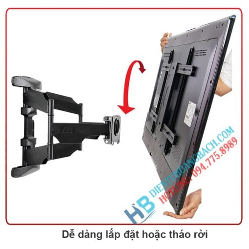 L600 lắp đặt 510x510 - GIÁ TREO TIVI ĐA NĂNG NB L600 (45-70 INCH )