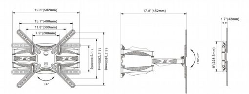P5 kich thước 510x194 - GIÁ TREO TIVI ĐA NĂNG P5 (32-60 INCH)