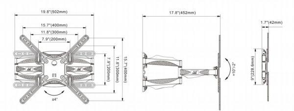 P5 kich thước 600x228 - GIÁ TREO ĐA NĂNG P5 (32-60 INCH)