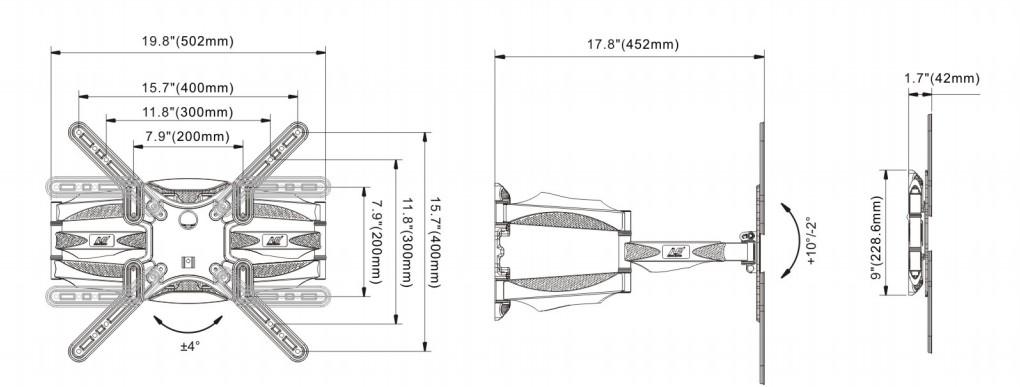 P5 kich thước - GIÁ TREO TIVI ĐA NĂNG P5 (32-60 INCH)