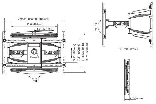 P6 kích thước 510x340 - GIÁ TREO TIVI ĐA NĂNG NB L600 (45-70 INCH )