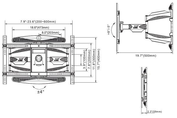 P6 kích thước 600x400 - GIÁ TREO TIVI ĐA NĂNG L600 (45-70 INCH )