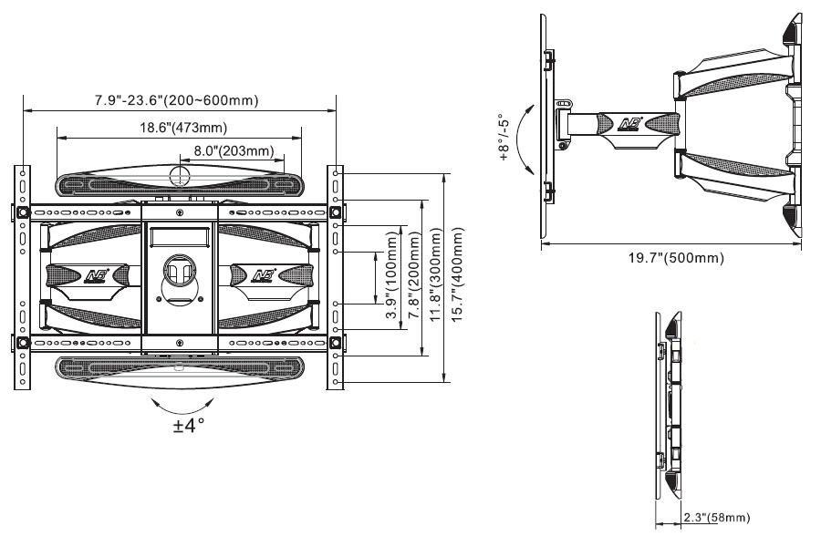 P6 kích thước - GIÁ TREO TIVI ĐA NĂNG NB L600 (45-70 INCH )