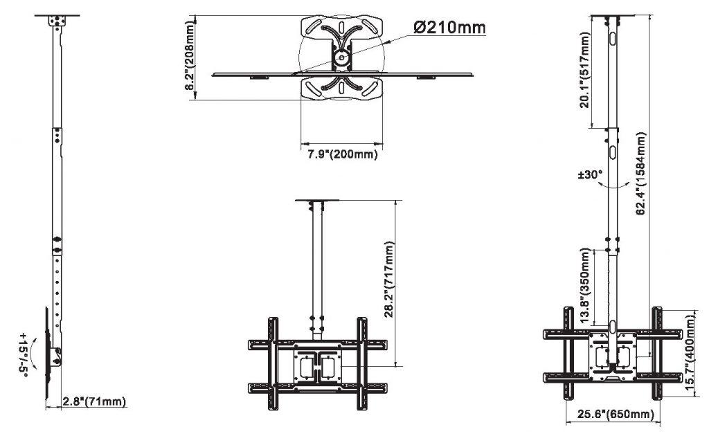 NB560 kích thước 1024x630 - GIÁ TREO TIVI THẢ TRẦN NBT-560 32-65 INCH