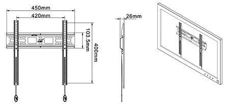 D2F kích thước 1 - GIÁ TREO TIVI THẲNG D2F (32-55 INCH)