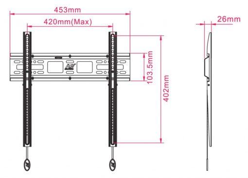 D2F kích thước 510x367 - GIÁ TREO TIVI THẲNG D2F (32-55 INCH)