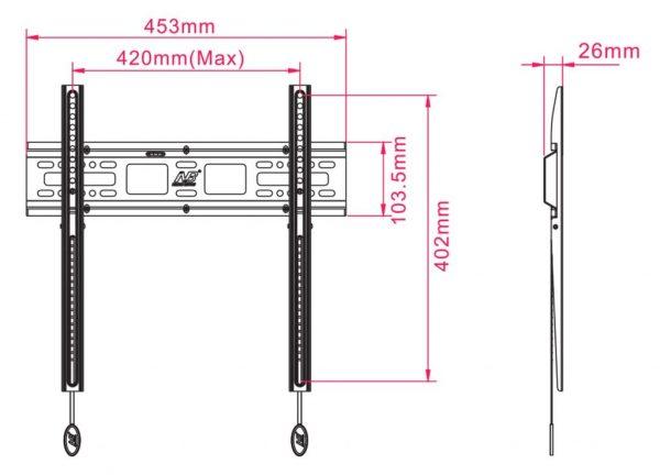 D2F kích thước 600x432 - GIÁ TREO TIVI THẲNG D2F (32-55 INCH)