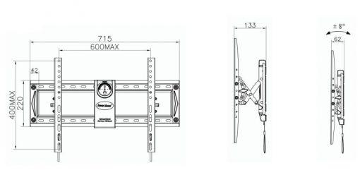 C70T kích thước 510x258 - GIÁ TREO TIVI GẬT GÙ TAY KÉO C70T (50-70 INCH)