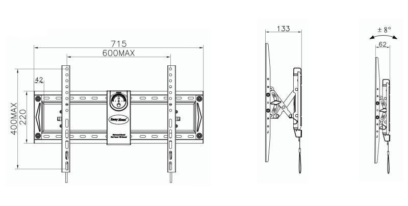C70T kích thước - GIÁ TREO TIVI GẬT GÙ TAY KÉO C70T (50-70 INCH)