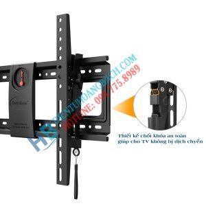 DF70T chốt khóa an toàn 300x300 - GIÁ TREO TIVI GẬT GÙ NB DF70T (50-85 INCH)