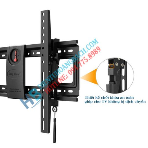 DF70T chốt khóa an toàn 510x510 - GIÁ TREO TIVI GẬT GÙ NB DF70T (50-70 INCH)