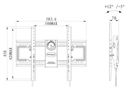 DF70T kích thướcjpg 1 510x366 - GIÁ TREO TIVI GẬT GÙ NB DF70T (50-85 INCH)