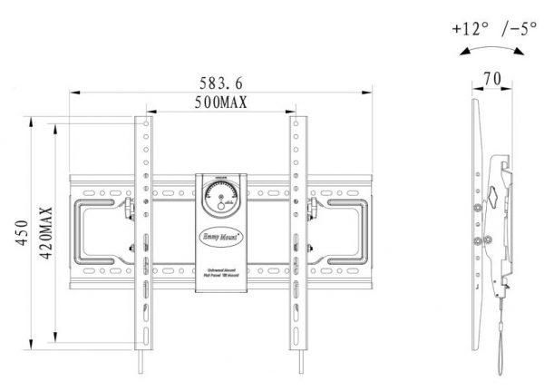 DF70T kích thướcjpg 1 600x431 - GIÁ TREO TIVI GẬT GÙ DF70T (50-70 INCH)