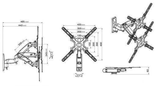 F450 kích thước 1 510x283 - GIÁ TREO TIVI ĐA NĂNG F450 (40-50 INCH)