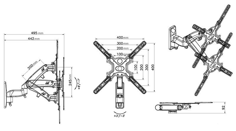 F450 kích thước 1 - GIÁ TREO TIVI ĐA NĂNG F450 (40-50 INCH)