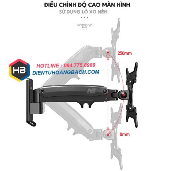 F425 điều chỉnh độ cao 600x600 - GIÁ TREO MÀN HÌNH MÁY TÍNH F425 27 - 45 INCH