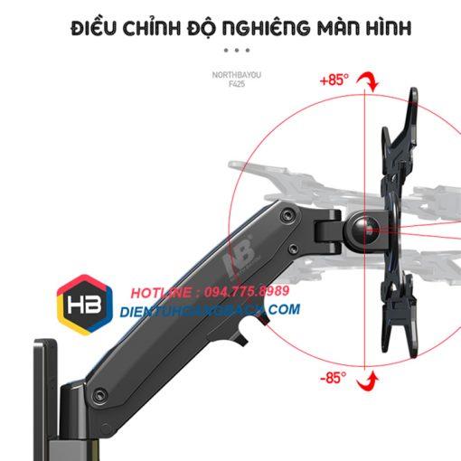 F425 điều chỉnh độ nghiêng 510x510 - GIÁ TREO MÀN HÌNH MÁY TÍNH F425 27 - 45 INCH