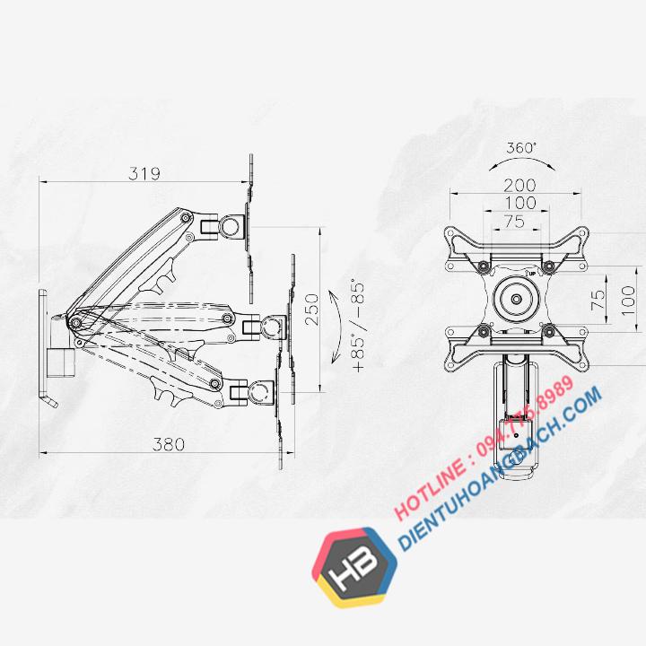 F425 Kích thước - GIÁ TREO MÀN HÌNH MÁY TÍNH F425 27 - 45 INCH