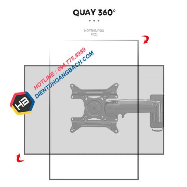 F425 Quay 360 600x600 - GIÁ TREO MÀN HÌNH MÁY TÍNH F425 27 - 45 INCH